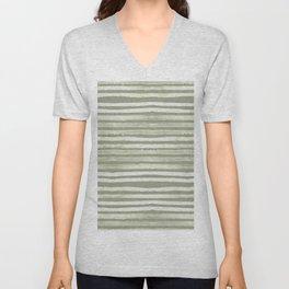 Simply Shibori Stripes Green Tea and Lunar Gray Unisex V-Neck
