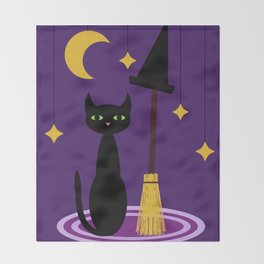 Witch's Cat Throw Blanket