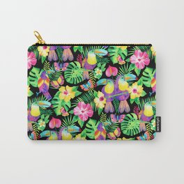 Tropical Toucans in Watercolor Black Carry-All Pouch