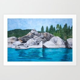 Lake Tahoe Trees and Boulders Art Print