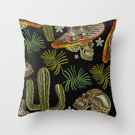 Classic ethnic embroidery skull pattern Throw Pillow