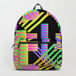 Neon Ombre 90's Striped Shapes Backpack