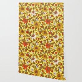 1970s Hippy/Flower Power Yellow, Orange & Brown Pattern Wallpaper