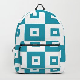 Retro Mid Century Modern Square Pattern Turquoise Backpack