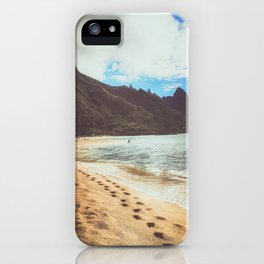 footprints along the beach in Hawaii iPhone Case