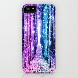 Magical Forest : Aqua Periwinkle Purple Pink Ombre Sparkle iPhone Case