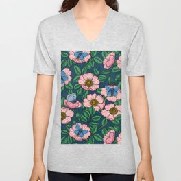 Dog rose and butterflies  Unisex V-Neck
