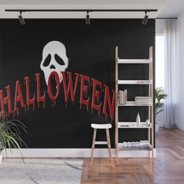Halloween IV (red & white on black) Wall Mural