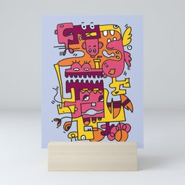 Light Blue Doodle Monster World by Pablo Rodriguez (Pabzoide) Mini Art Print