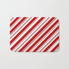 winter holiday xmas red white striped peppermint candy cane Bath Mat