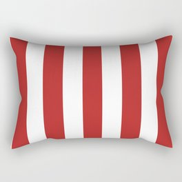 Firebrick red - solid color - white vertical lines pattern Rectangular Pillow
