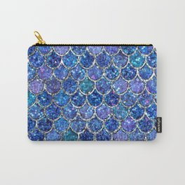 Sparkly Shades of Blue & Silver Glitter Mermaid Scales Carry-All Pouch