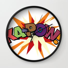 KA-POW Comic Book Modern Pop Art Cool Fun Colorful Graphic Wall Clock