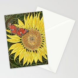 Sunflower and Peacock Butterfly Stationery Cards