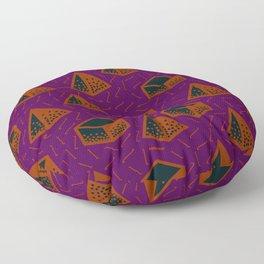 3d geo pattern in purple and orange Floor Pillow