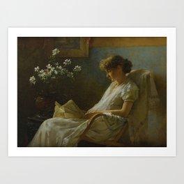 Charles Courtney Curran 1861 - 1942 A COMFORTABLE CORNER Art Print