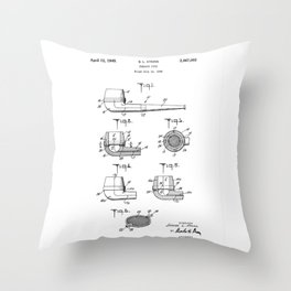 patent art Atkins Tobacco Pipe 1949 Throw Pillow