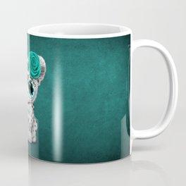 Blue Day of the Dead Sugar Skull Snow Leopard Cub Coffee Mug