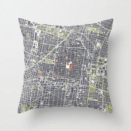 Mexico city map engraving Throw Pillow