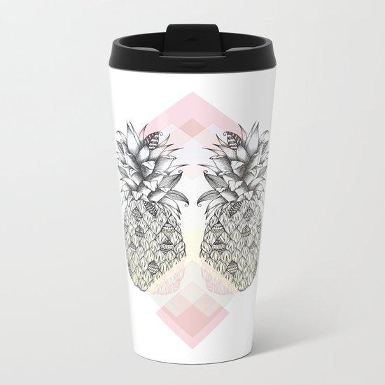 Tropical - Pink Metal Travel Mug