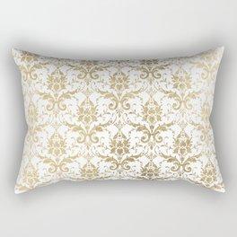 Elegant vintage white faux gold floral boutique damask Rectangular Pillow