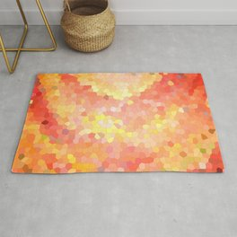 Portal. Red orange mosaic drawing Rug