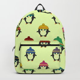 Penguins with colorful beanies Backpack