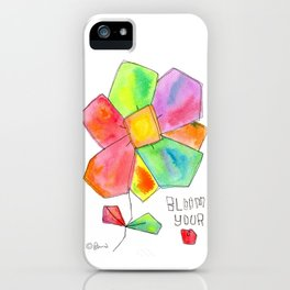 """Bloom Your LOVE"" Original Watercolor Painting by Lenna Arty iPhone Case"