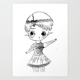 Cute boy in dress Art Print