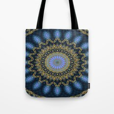 Golden Mandala (blue) Tote Bag