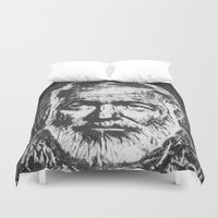 hemingway Duvet Covers featuring Ernest Hemingway portrait by Psychedelic Astronaut