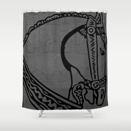 Andalusian horse portrait outlines Shower Curtain