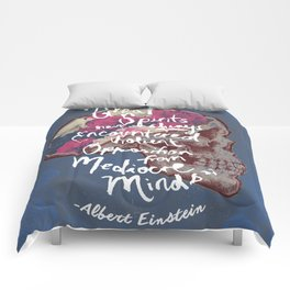 Albert Einstein Skull Quote Comforters