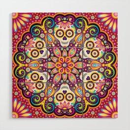 Sugar Skull Mandala - Day of the Dead Mandala Art by Thaneeya McArdle Wood Wall Art