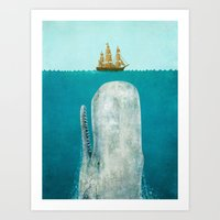 vintage map Art Prints featuring The Whale  by Terry Fan