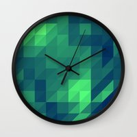 seahawks Wall Clocks featuring Polygon Nine by Jambot