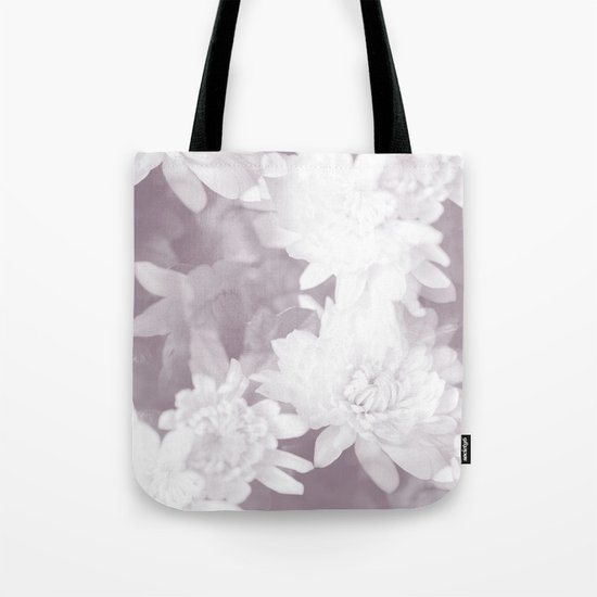 Elegant beauty - white flowers on purple background Tote Bag