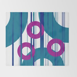 Three Rings pink with turquoise background Throw Blanket