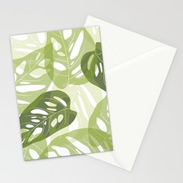 Light green leaves Stationery Cards
