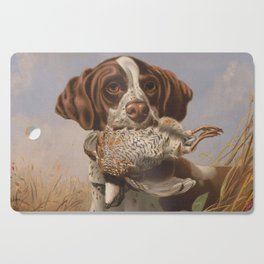 Vintage English Pointer Hunting Quail Painting (1869) Cutting Board