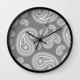 Silver paisleys Wall Clock