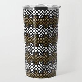 Endless Knot pattern - Gold & white Travel Mug