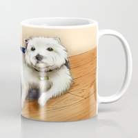 westie Mugs featuring Dexter the Westie in His Doggie Bed by Circus Dog Industries