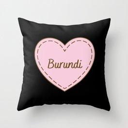 I Love Burundi Simple Heart Design Throw Pillow