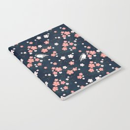 Navy blue cherry blossom finch Notebook