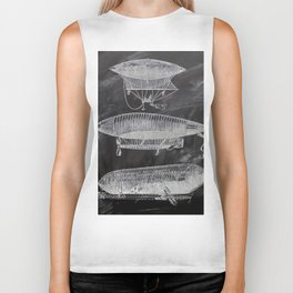 chalkboard art victorian steampunk hot air balloon airship patent print Biker Tank