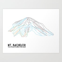 Mt. Bachelor, OR - Minimalist Trail Art Art Print