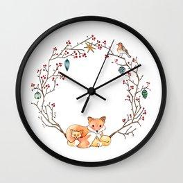 Fox Family Holiday Wreath Wall Clock