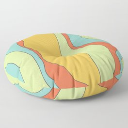 Curly lines of colour pattern Floor Pillow