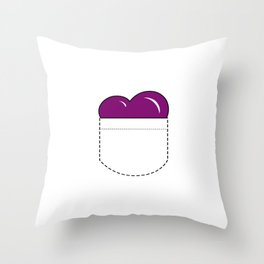 Close to my Heart, Pocket Love - Purple Throw Pillow